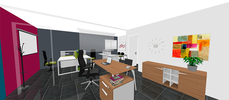 compositeur 3D meubles bureau gautier office